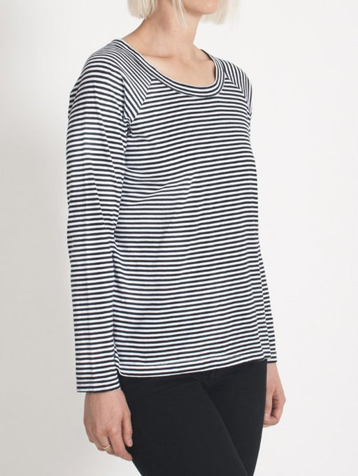 organic cotton long sleeve relaxed fit top in stripe print