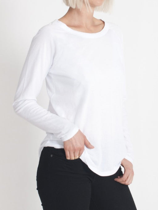 organic cotton long sleeve relaxed fit top in white