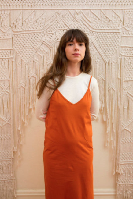 Orange Organic Cotton Singlet Dress