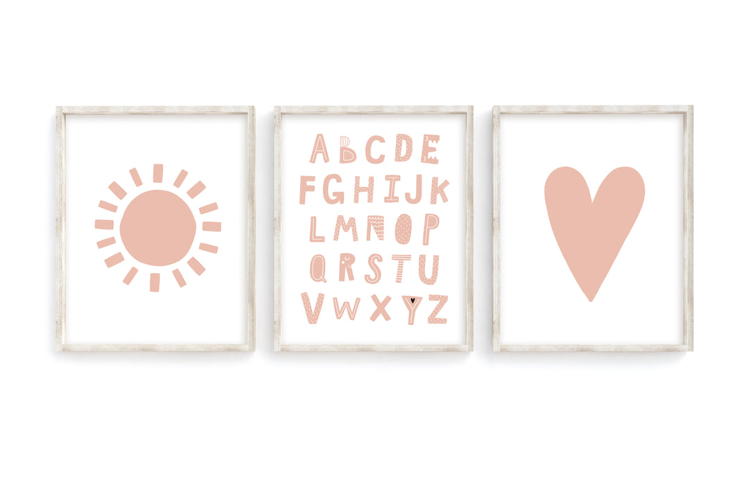 Blush Alphabet Sun Heart Prints- Set of 3