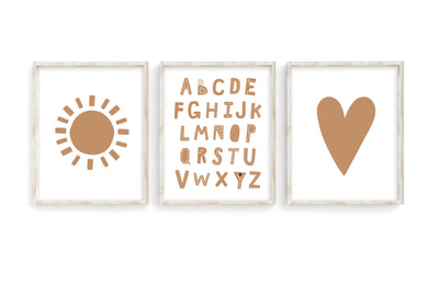 Camel Alphabet Sun Heart Prints- Set of 3