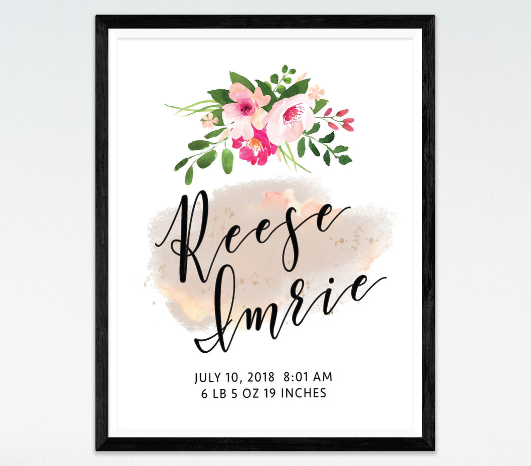 Floral Watercolour Birth Print
