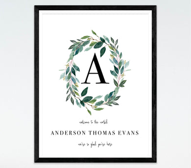 Greenery Wreath Name Print