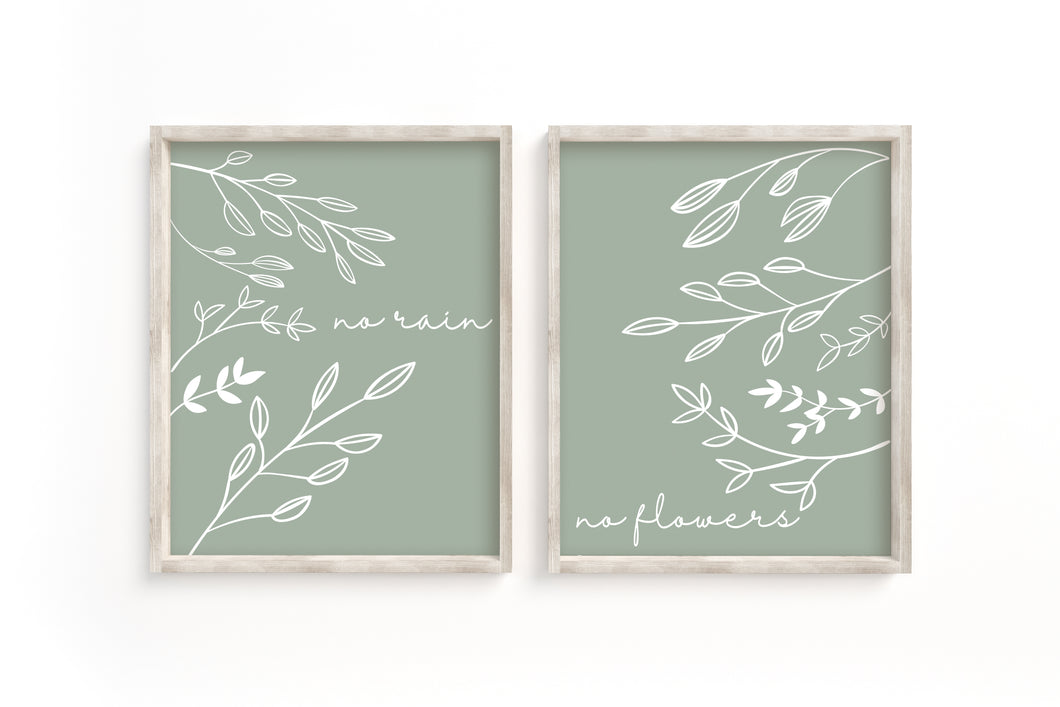 No Rain No Flowers Prints-Set of 2