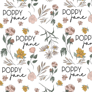 Poppy Floral Personalized Blanket