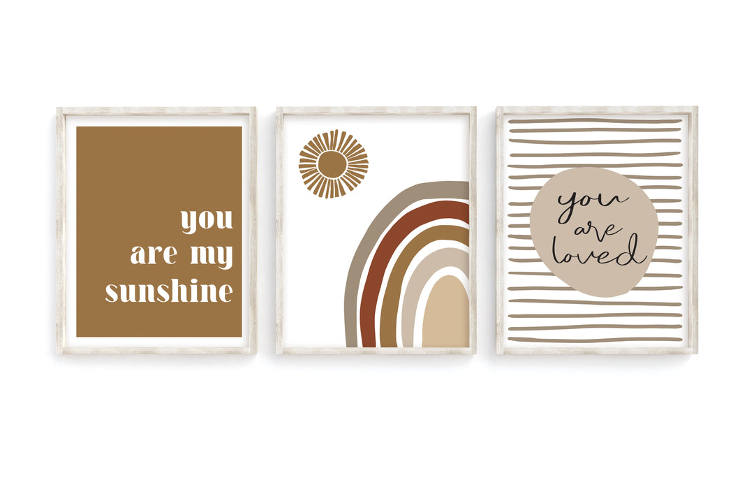 Camel Rainbow + Sun Prints- Set of 3