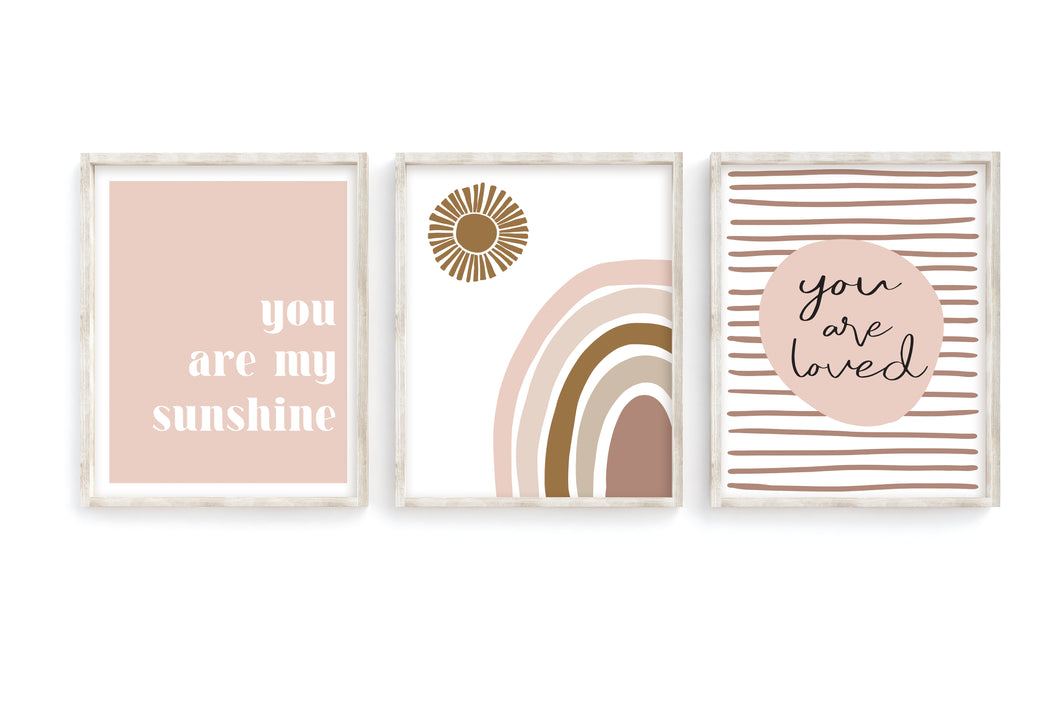 Blush Rainbow + Sun Prints- Set of 3