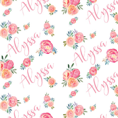Watercolour Floral Personalized Blanket