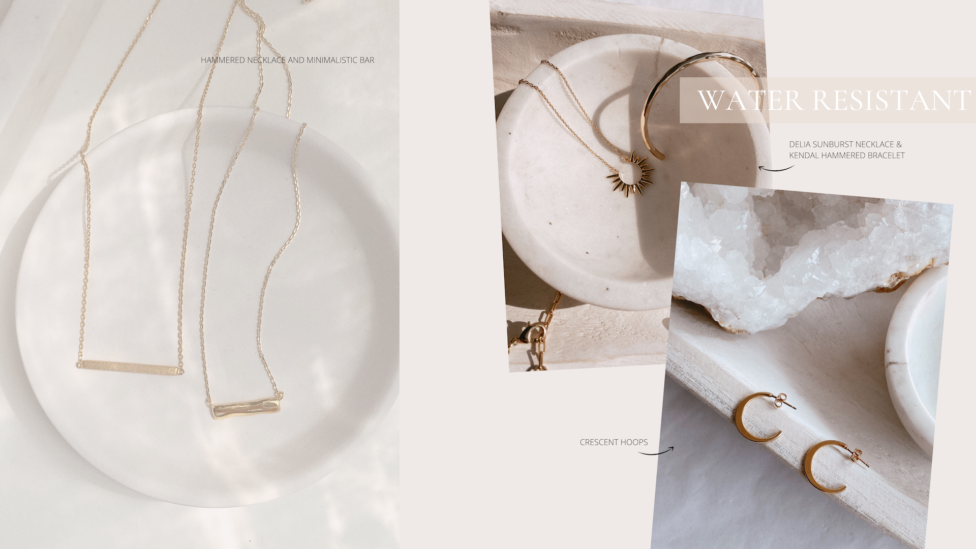 summer on trend minimalistic gold plated jewelry