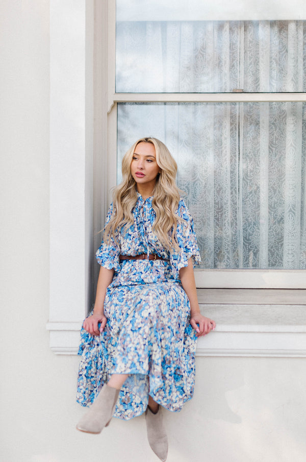 Blue Periwinkle Floral Maxi Dress