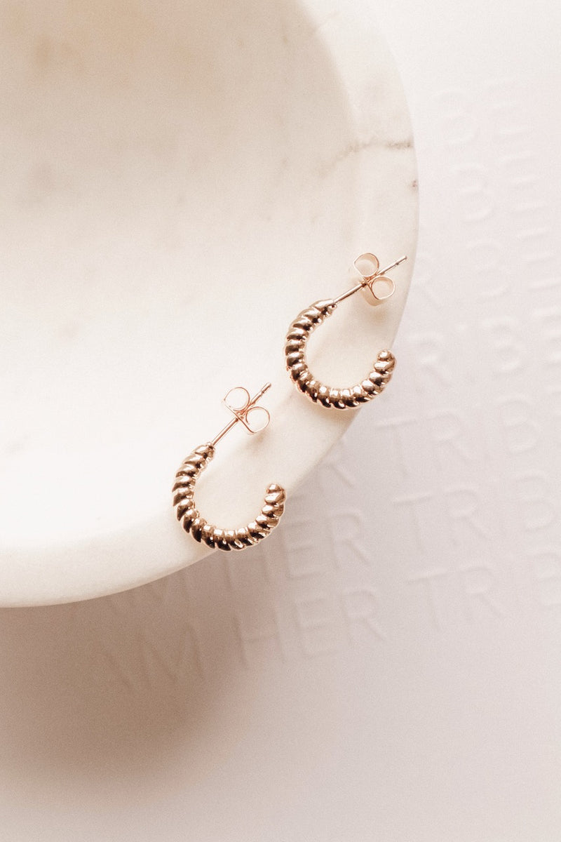 Twisted Huggie Mini Hoop Earrings