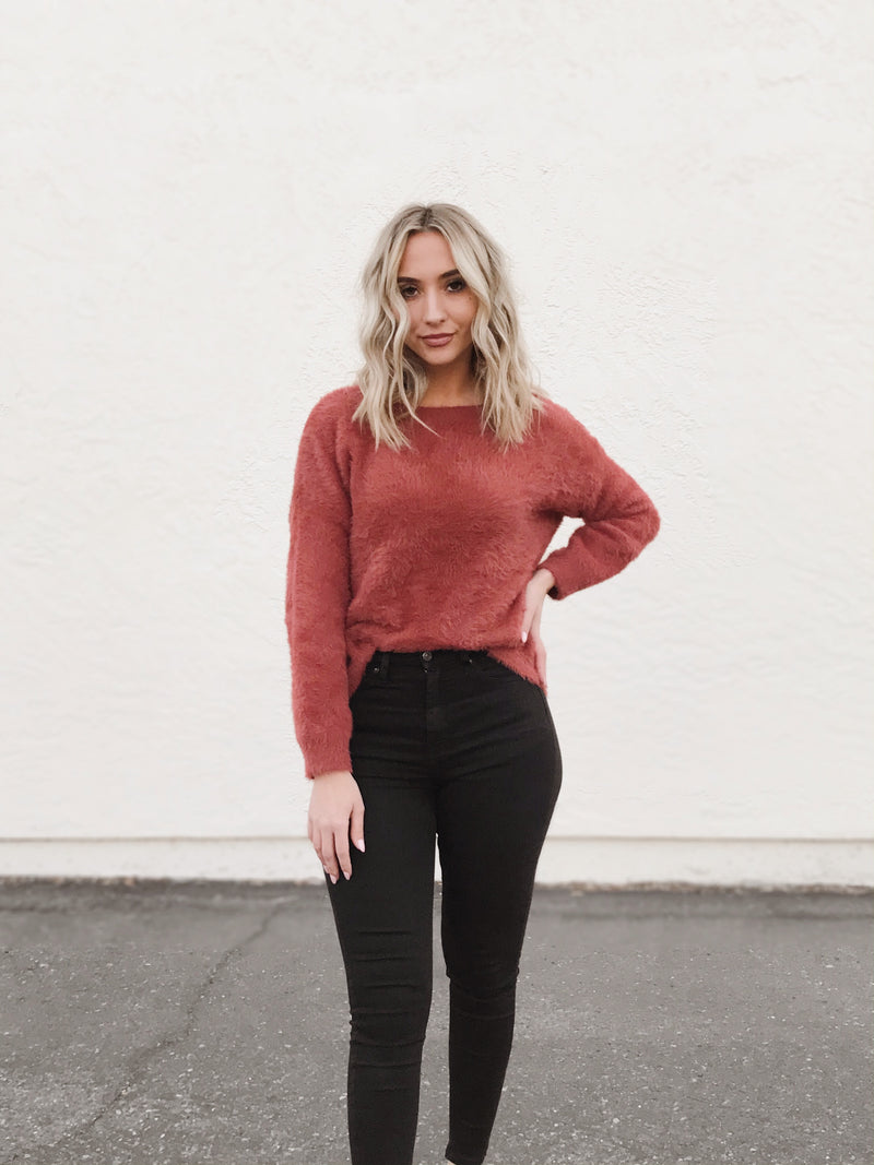Pop of Color Rust Fuzzy Back Bow Tie Sweater