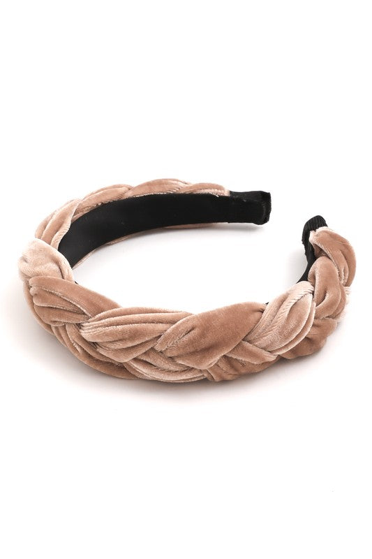Neutral Beige Velvet Braided Headband