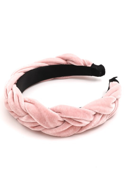 Pretty in Pink Velvet Braided Headband
