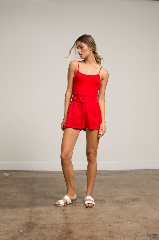 Rouge Red Highwaisted Paperbag Shorts