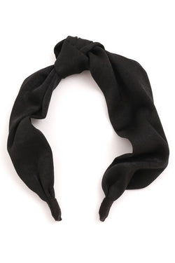 Black Knotted Silky Headband