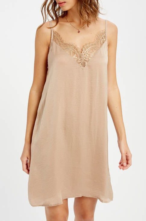 Beige Lace Trim Mini Slip