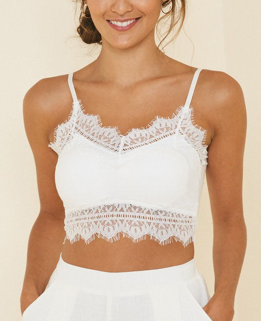Sadie Ribbed Lace Bralette - White