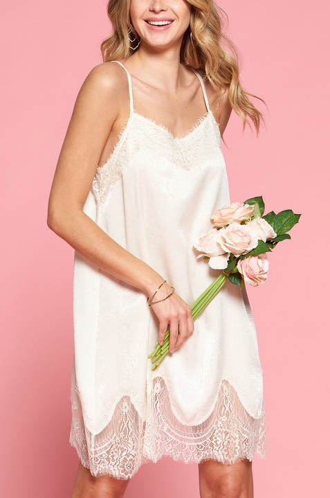 white silky lace trim slip dress