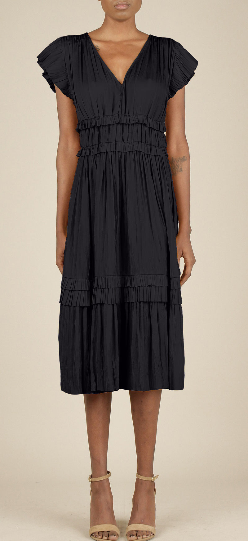 Belle Navy Ruffled Midi Dress
