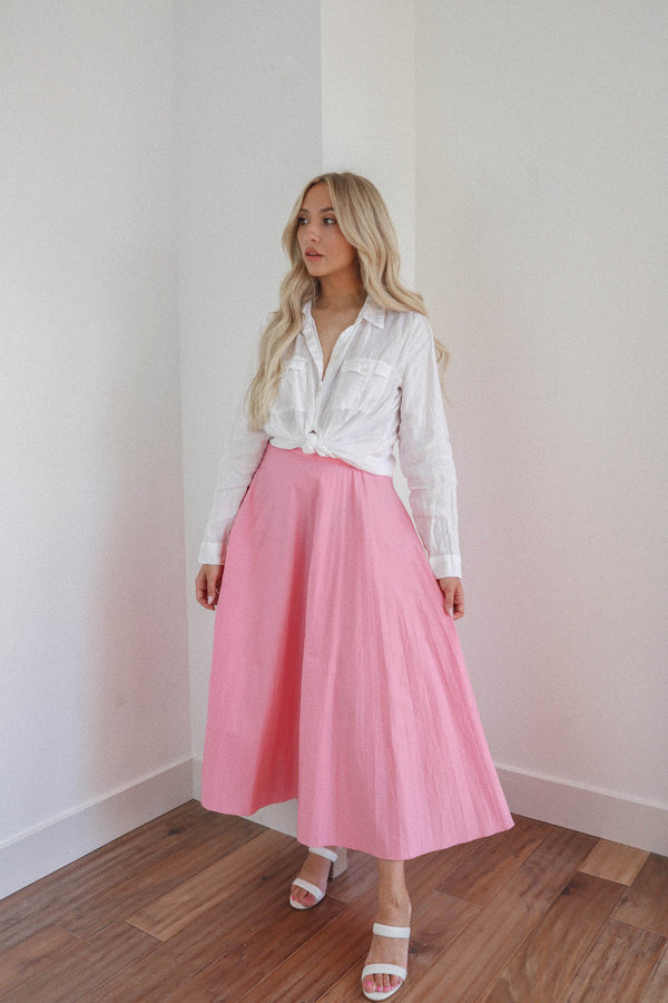 Bubblegum Pink Pleated Midi Skirt