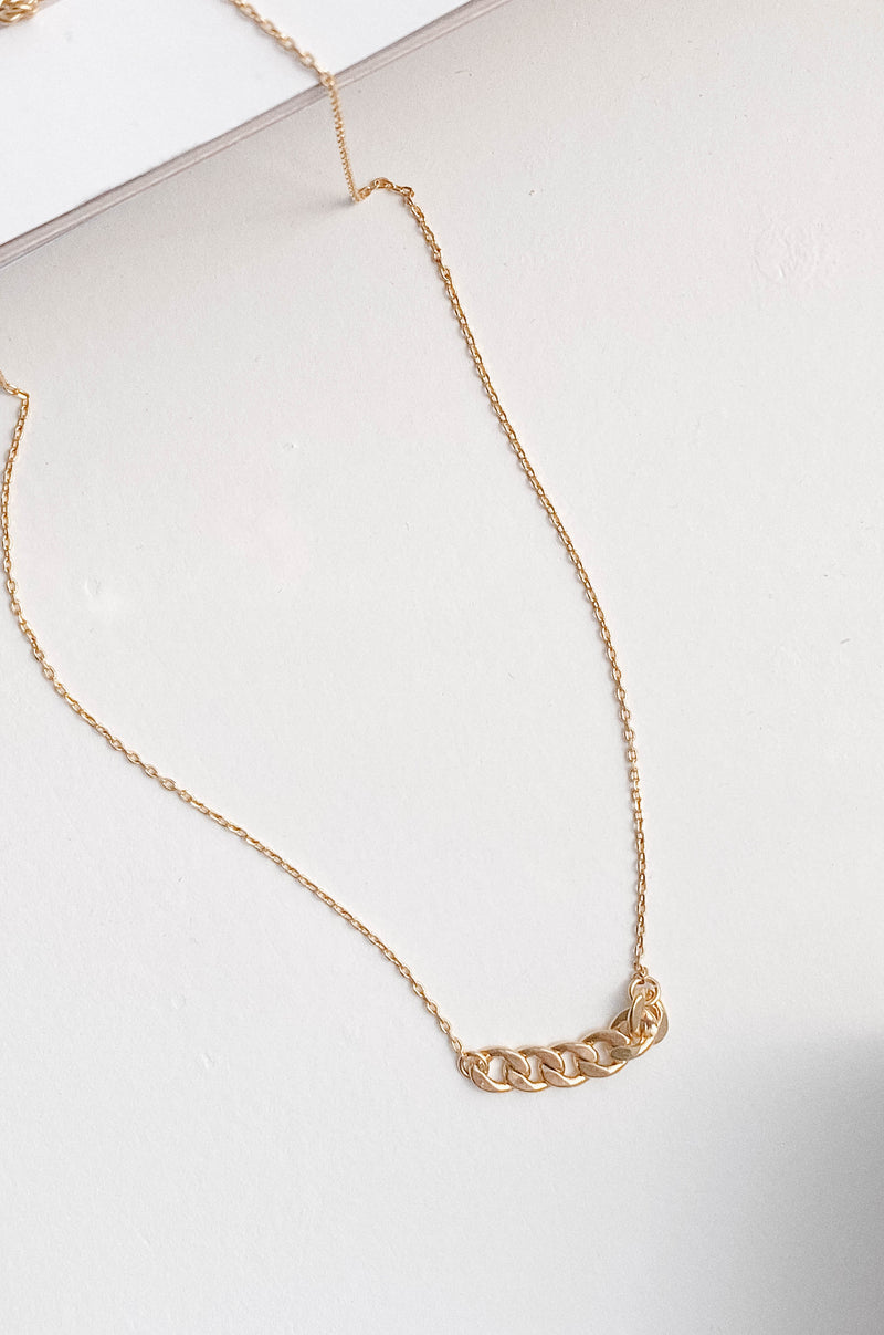 14K Gold Curb Chain Charm Necklace