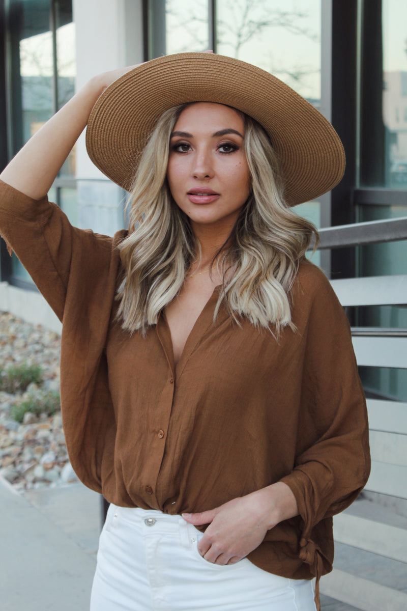 Stassi Brown Oversized Top