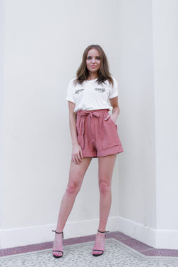 Mika High Waisted Shorts - Rust
