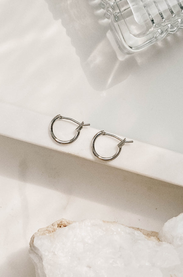 Classic Mini Latch Hoop - White Gold Dipped
