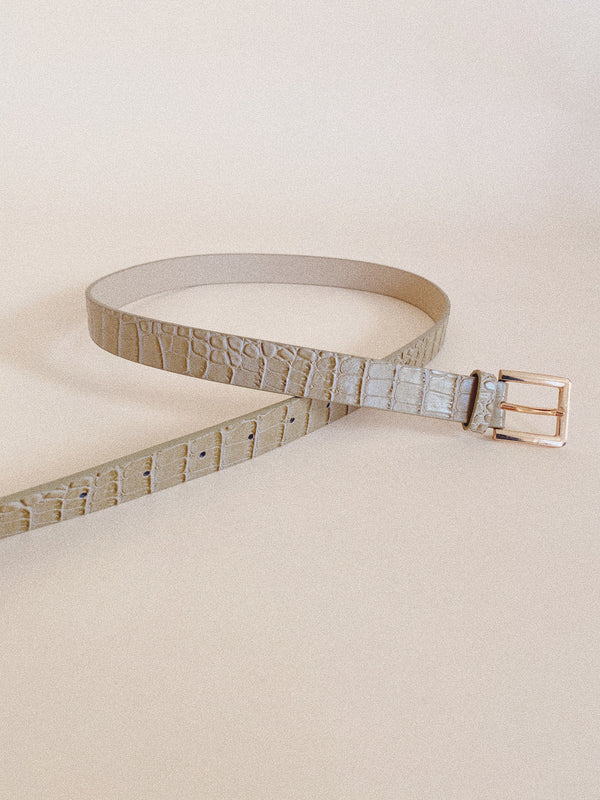 Thin Taupe Croc Belt