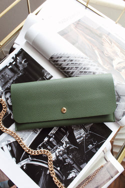 Soft Faux Leather Long Wallet - Olive