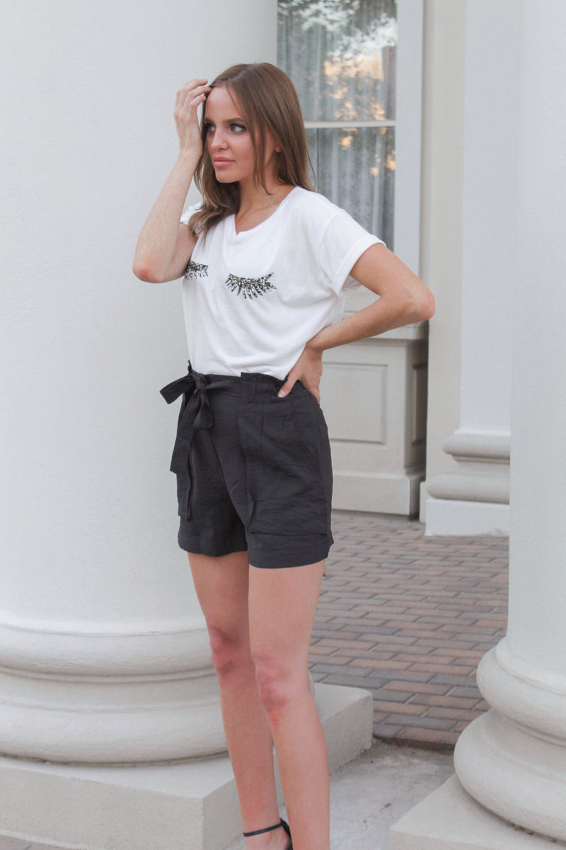 Mika High Waisted Shorts - Black