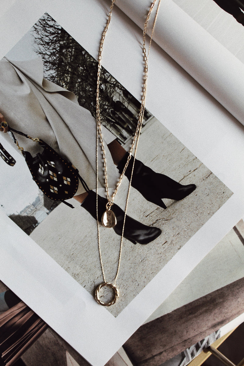 Dainty Layered Circle Charm Necklace