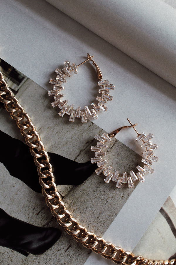 Ice Queen Baguette Hoop Earrings