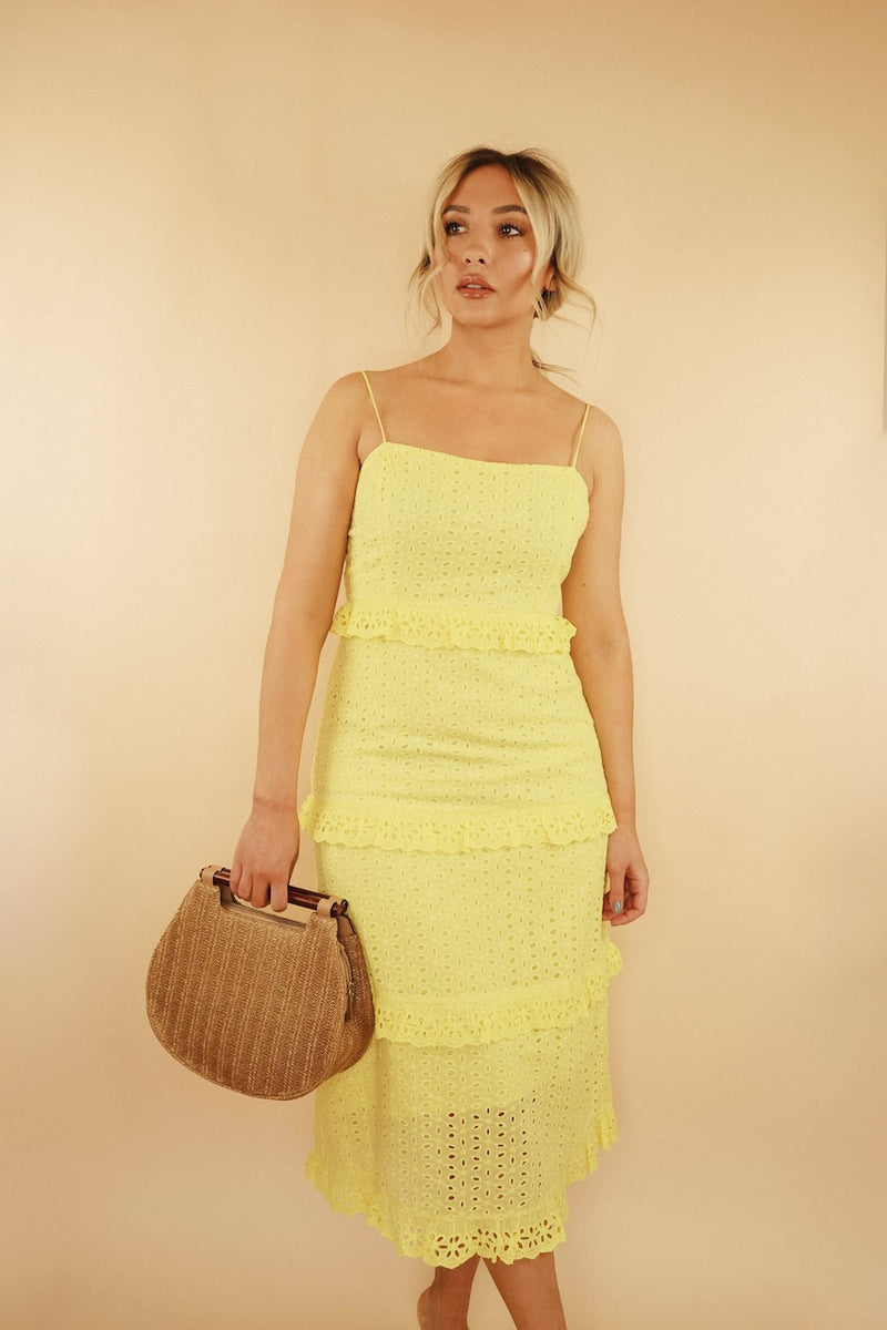 Elena Yellow Eyelet Midi Dress