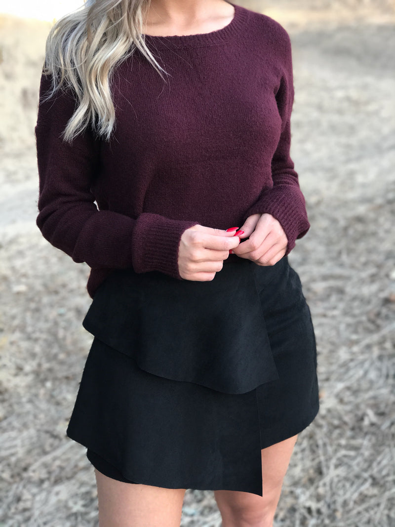 SAVANNAH BLACK SUEDE MINI SKIRT