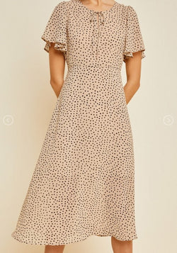 Feeling Loved Tan Dotted Midi Dress