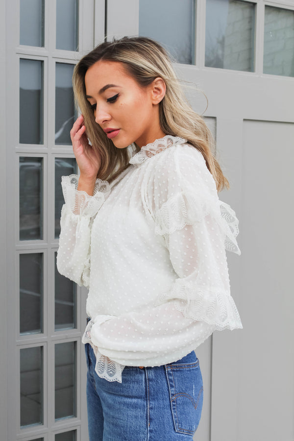 Feeling Luxe Swiss Dot White Sheer Blouse