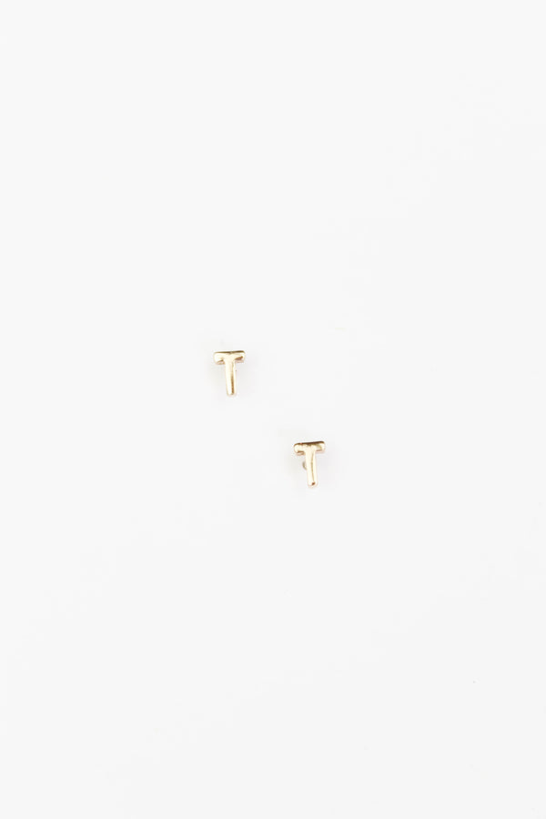Gold Initial Alphabet Stud Earrings - T