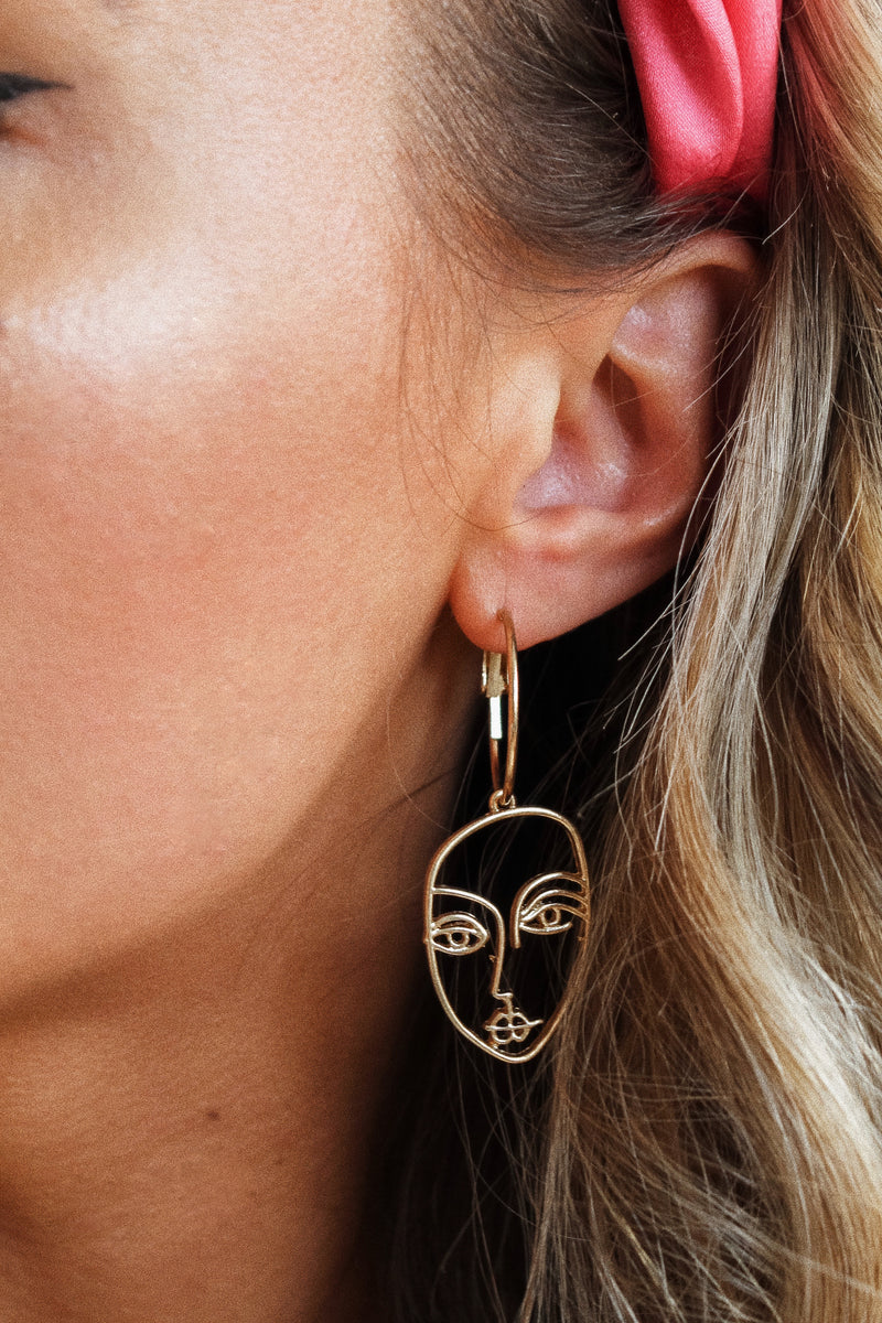 RBF Gold Face Hoop Earrings
