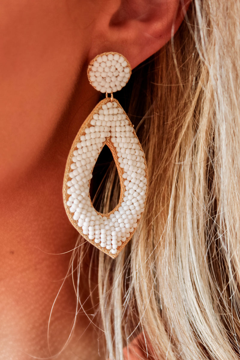 Dubai White Beaded Drop Earrings