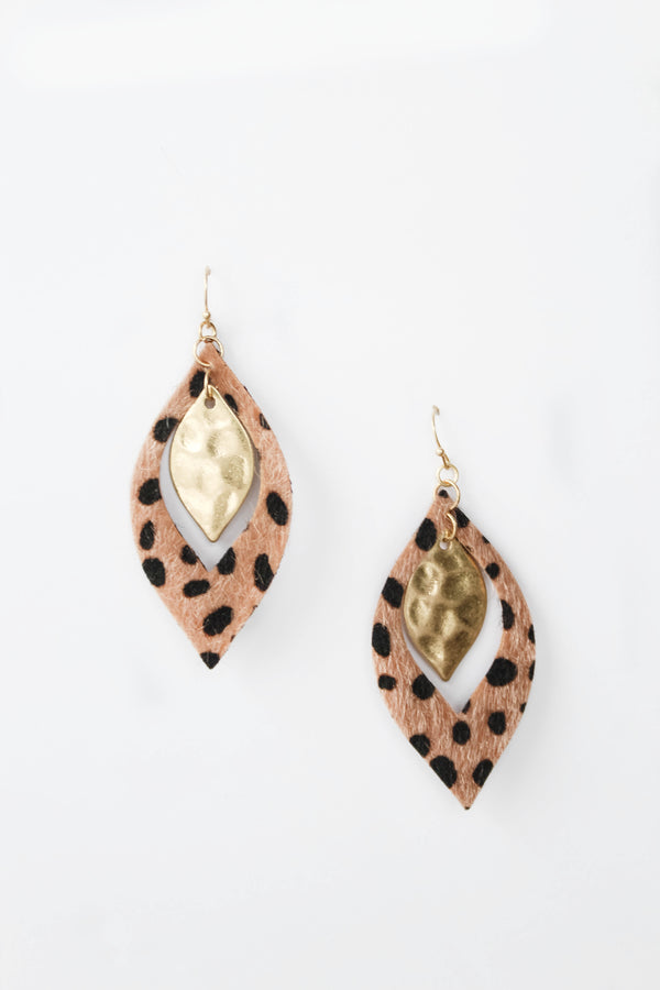 Sassy Babe Leapord Print Teardrop Earrings
