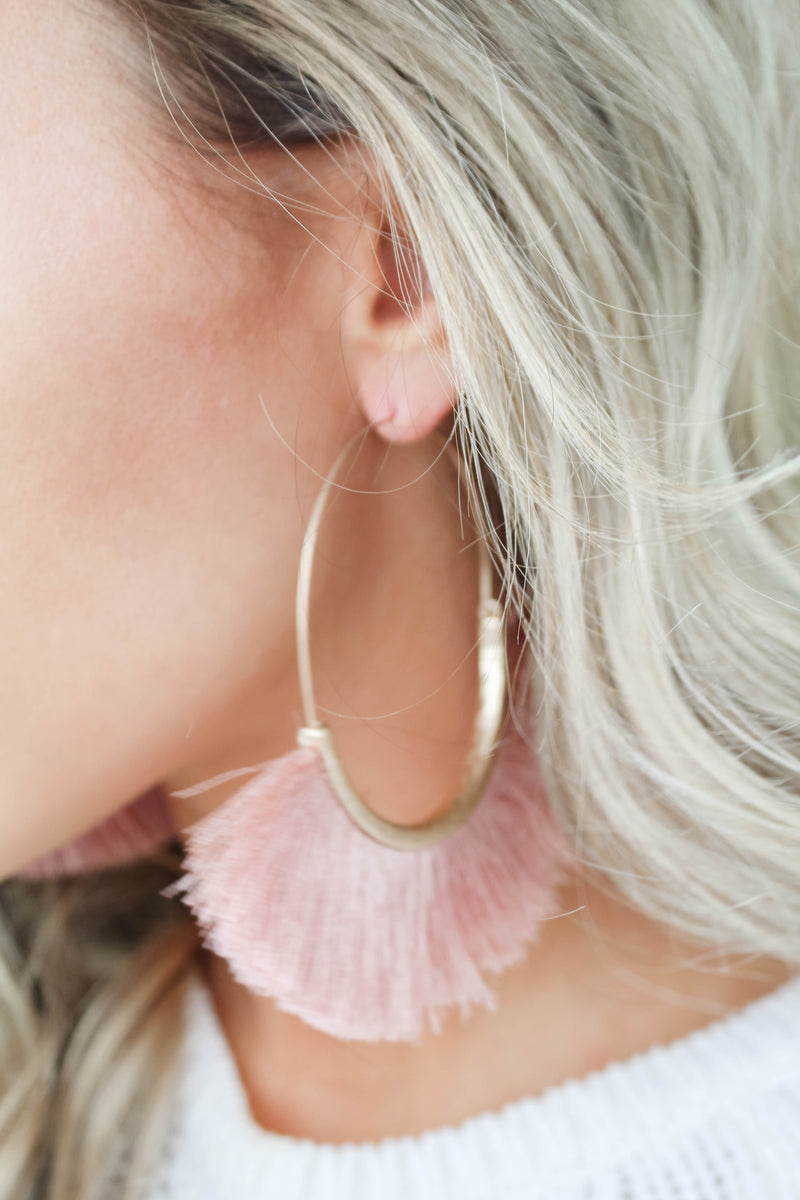 Wild Babe Fringe Large Hoop Earrings