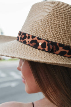 Weekend Babe Leopard Straw Hat