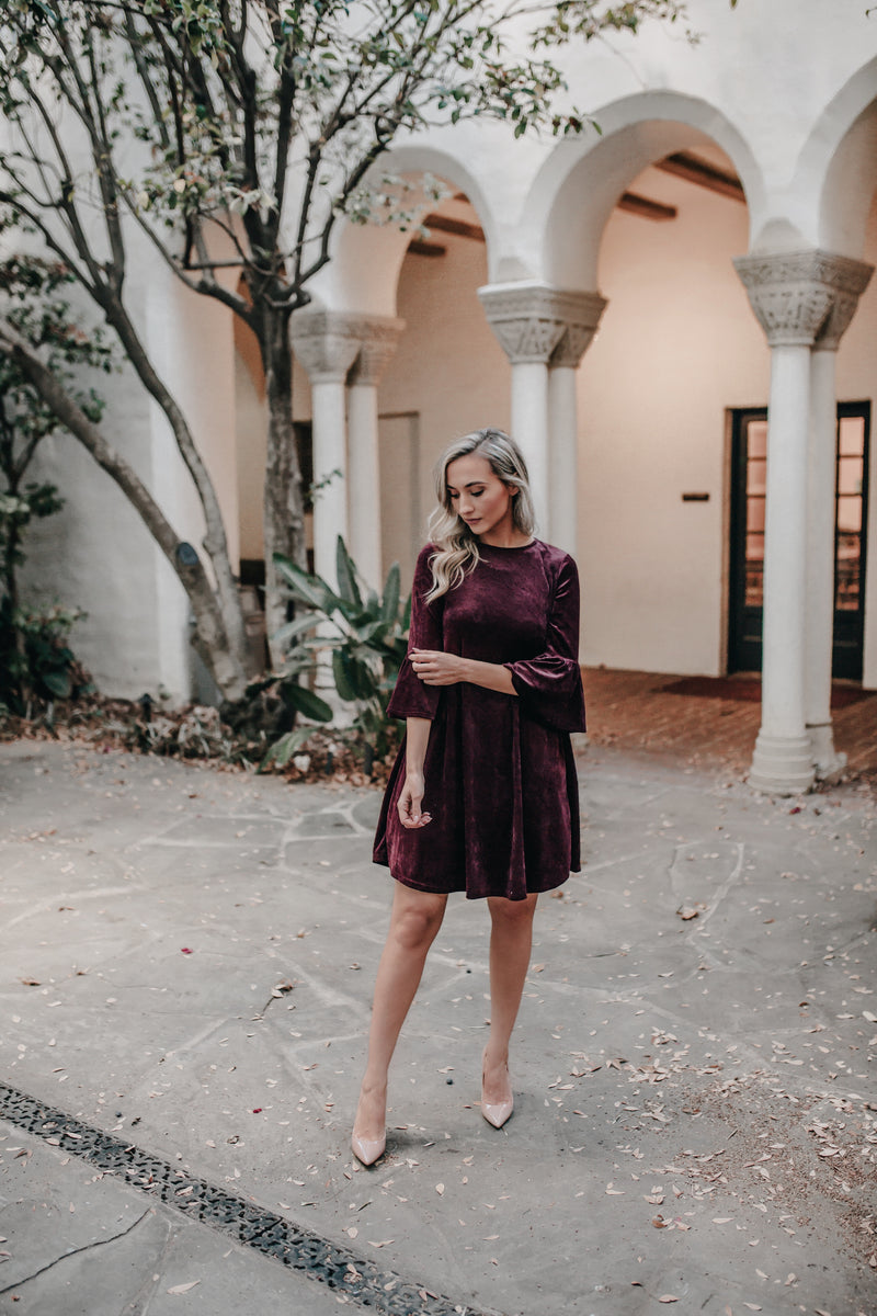 CAMILA BURGENDY VELVET DRESS WITH 3/4 BELL SLEEVE