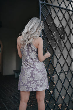 NAOMI LAVENDER VELVET BURNOUT MINI DRESS