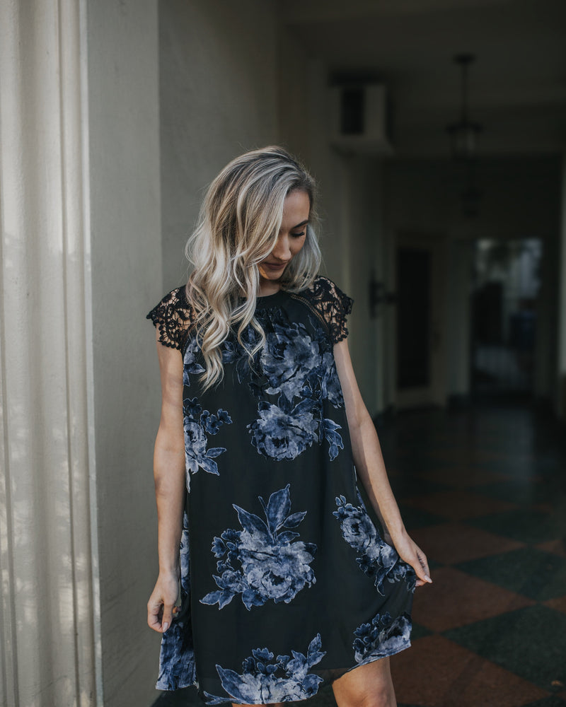 HARPER FLORAL VELVET BURNOUT BLUE DRESS