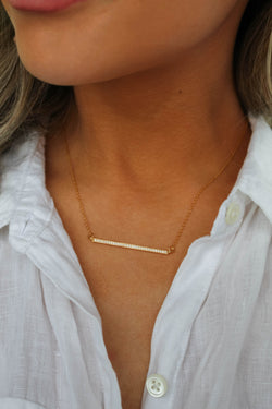 Rhinestone Minimalistic Bar Necklace