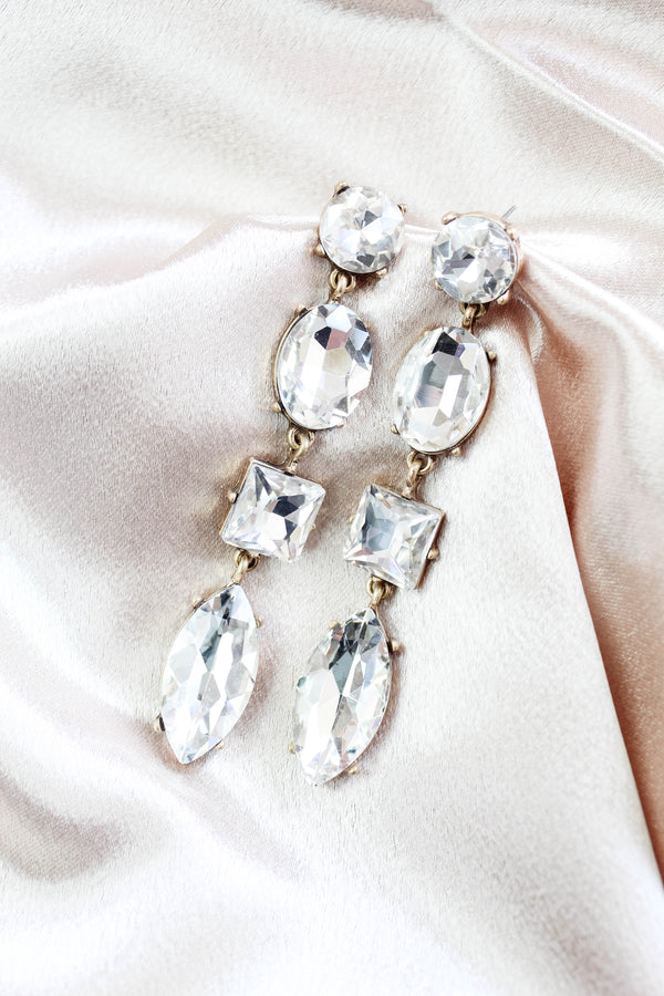 Center of Attention Rhinestone Drop Earring