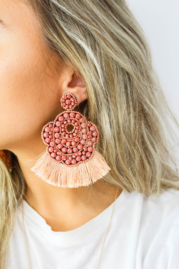 Feeling Peachy Beaded Earrings